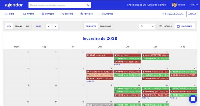 Calendário de atividades Agendor