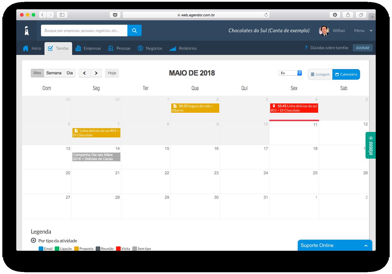 Calendário de tarefas