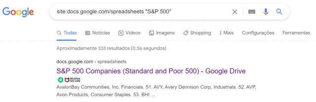 listas de prospecção google sp500